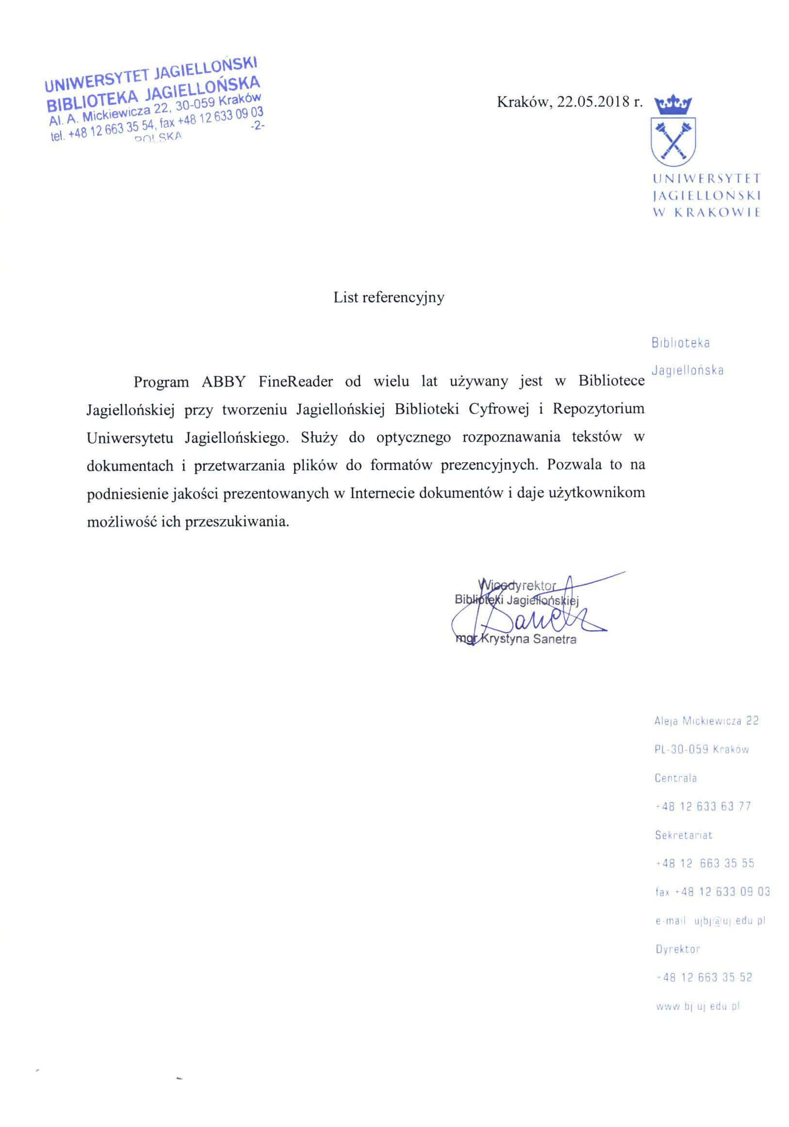 Referencje – Biblioteka Uniwersytetu Jagiellońskiego w Krakowie