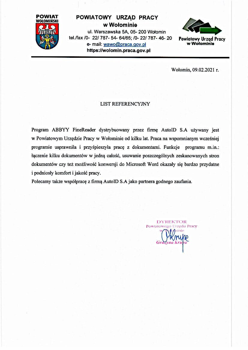 Referencje – Powiatowy Urząd Pracy w Wołominie