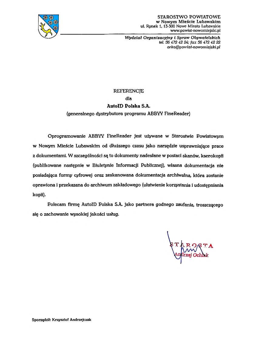 Referencje – Starostwo Powiatowe Nowe Miasto Lubawskie
