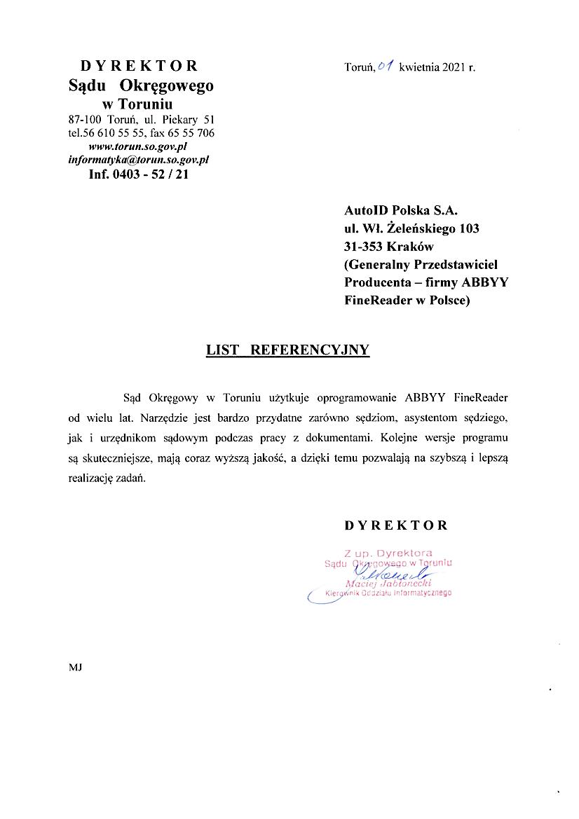 Referencje – Sąd Okręgowy w  Toruniu